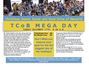 TCoB Mega Day – Christmas Sweat, Social and Food Drive at Neworld