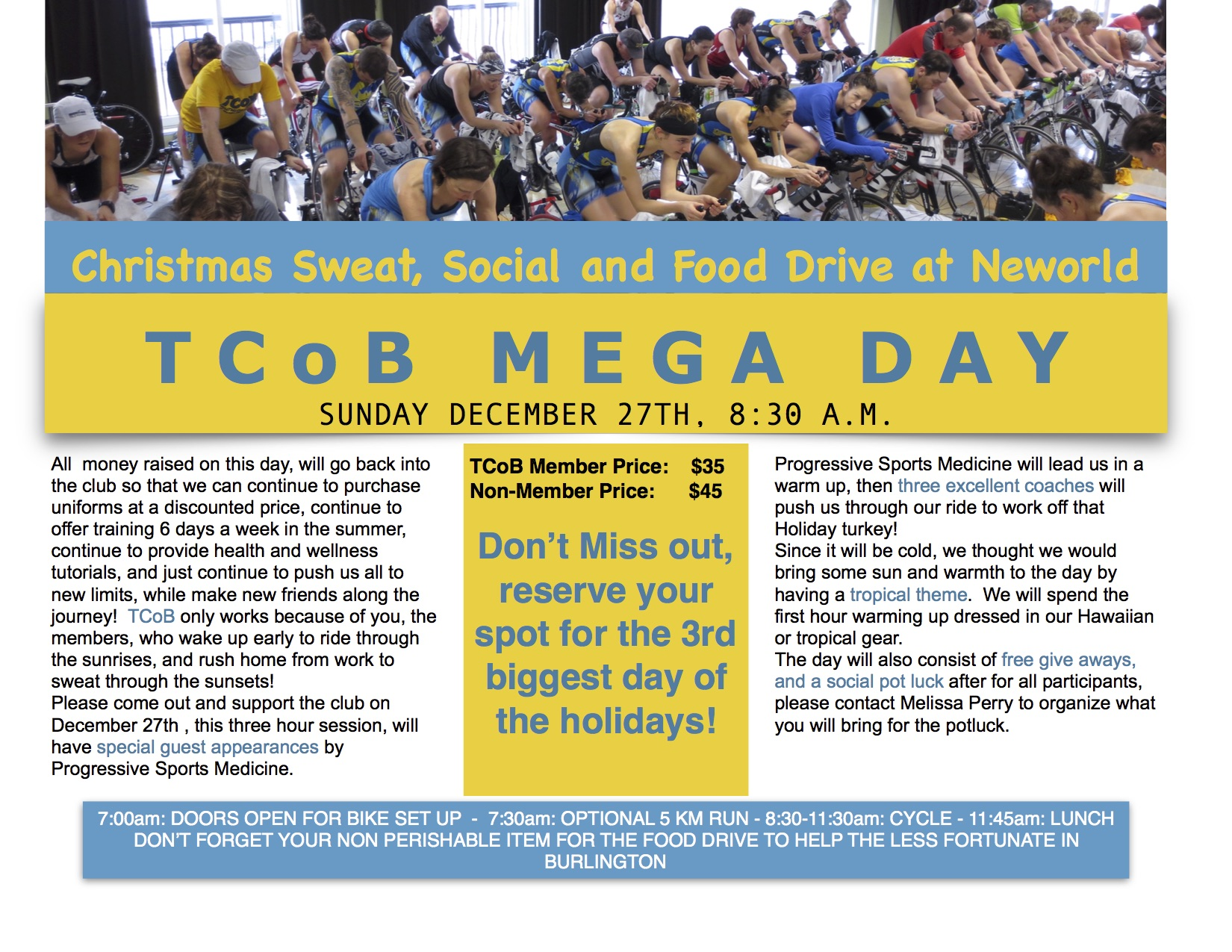 TCoB Mega Day – Christmas Sweat, Social and Food Drive at Neworld