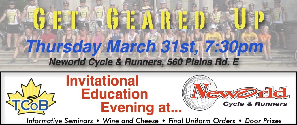 "TCoB ""Get Geared Up"" Educational Evening at Neworld March 31st"